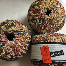 LOT of 3 Muench Oceana #4801 Bronze Pink Blue Yellow + Twisted w/ Mini Bows Yarn
