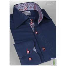 NEW ITALIAN DESIGNER BLUE OR WHITE SHIRT with PAISLEY COLLAR Various Sizes