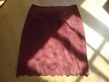 Women's Dusty Rose Laser Cut Suede Skirt Laundry Shelli Segal Scalloped Hem 8