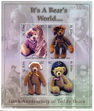 St Kitts 2003 MNH Teddy Bears 100th Anniv 4v M/S Queen Victoria Roosevelt Stamps