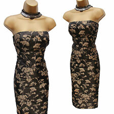 Karen Millen Brown Gold Jacquard Floral Corset Top & Skirt Set Dress UK 10-12