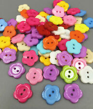 100X NEW Resin Mixed color buttons Sewing Scrapbooking 2-Holes Flowers 13.5mm