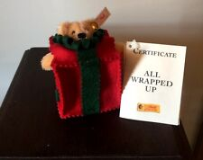 """STEIFF ALL WRAPPED UP"""" EAN 665882 MOHAIR BEAR POKING OUT OF  GIFT PACKAGE"""
