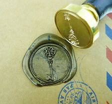 Vintage Key Wax Seal Stamp Gold Plated key wedding logo invitation  stamp WS082