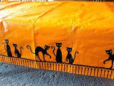 Halloween Party Vinyl Orange Table Cloth Cover Witch's Black Cats On Fence