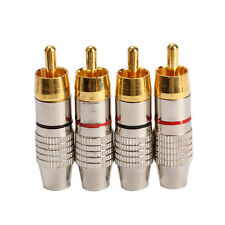 4pcs RCA Male Plug Solder Audio Video Cable Adapters Connector Gold Plated