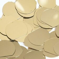 Sequin Three Quarter Round 30mm Gold Metallic Couture Paillettes. Made in USA.