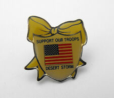 Support Our Troops Desert Storm USA Flag Yellow Ribbon Hat Lapel Pin Tie Tack