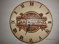 HANDMADE Art Game of Thrones GoT Wooden Wall Clock Pyrography Fire Burning Gift