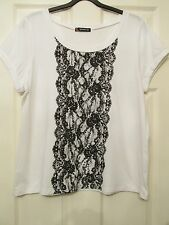 LADIES WHITE LACE LOOK FRONT STRETCHY TUNIC TOP SIZE 20 BY KALEIDOSCOPE