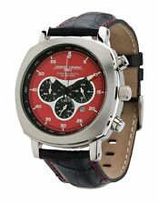 Jorg Gray JG3520 Men's Watch Chronograph Red Dial Black Leather Strap 45mm