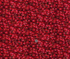 Cotton Fresh Squeezed Red Cherries Cherry Fruit Cotton Fabric Print D487.06
