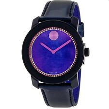 NWT MOVADO Womens Watch SWISS Navy Blue Leather & Swarovski BOLD $495 3600268