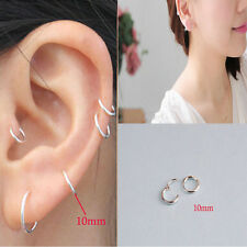 Womens Fashion Jewelry 925 sterling silver Round Hoop Dangle Earrings Studs m