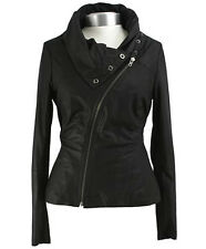 New Muubaa Drape Leather Jacket in Black Sz 10 uk rrp £329