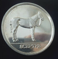 LARGE HEAVY Silver Horse / Racehorse Medal The Sport Of Kings 1975  Sceptre