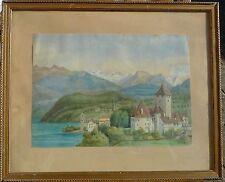OLGA SCHAFFELITSKY DE MUCADELL (1859-?) SPIETZ SCHWEIZ /SCHLOSS AM SEE /AQUARELL