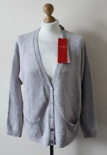 Bnwt Pure Collection Cashmere Relaxed Cardigan In Heather Silver - UK 18 (R118)