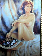 Gemälde Frau Nackt Frauenakt Akt Wandbild 90x70 ohne Rahmen MDF Rückwand D2