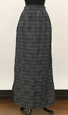 PRISA EURO COTTON VISCOSE PINSTRIPED SLIT LONG SKIRT GRY BLK Sz 1 US 12 $195 NWT