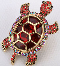 Big tortoise stretch ring animal bling scarf fashion jewelry gift 5 gold red