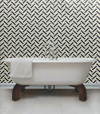 Black,White & Grey with Glitter, Herringbone Design Kitchen/ Bathroom Wallpaper