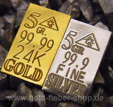 5 GR Goldbarren + 5 GR Silberbarren 999,9 | 999 je 0,324 Gramm (g) 24 Karat, kt