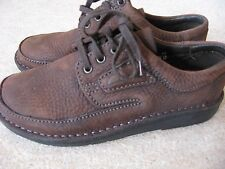 NEW WOMEN'S CLARK'S LEATHER NUBUCK SUEDE PASTY SHOES CHOC BROWN LACE UPS UK 5D
