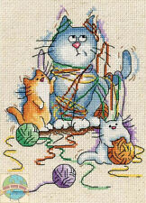 Cross Stitch Kit ~ Design Works All Strung Out Yarn Cats & Kittens #DW2870