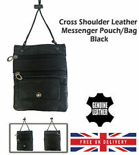 Mens Ladies Black Shoulder Bag Phone Sling Messenger Leather Crossbody Pouch