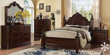 NEW! Chanelle Queen Size Bed 5 piece Set Cherry Bedroom Furniture 2 Nightstands