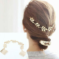 Ladies Stylish Personality Beautiful Leaves Chain Hair Band Combs Cuff Decor New