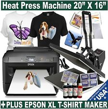 "HEAT PRESS TRANSFER T-SHIRT SUBLIMATION 20""X16"" PLUS PRINTER EPSON XL START PACK"