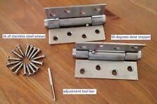 """6 of 4"""" Spring Door Hinges Square Corner Stainless Steel Adjustable Self-Closing"""