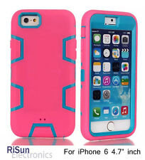 Screen Protector & Shock Proof 3 layer Protect Blue Pink case For iPhone 6 4.7""