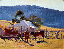 Milking Time Araluen Valley by Elioth Gruner A1+ High Quality Canvas Print