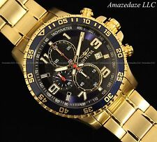 Invicta Mens Chronograph Blue Dial 18K Gold Plated Stainless Steel Tachy Watch