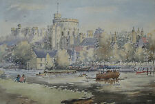 "MARGARET LAKE - ENGLISH ARTIST -  ORIGINAL WC, ""WINDSOR CASTLE "" SIGNAED, FRAMED"