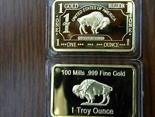 1 OZ Gold Buffalo Bar 100 MILLS Clad .999 24k Fine Bullion