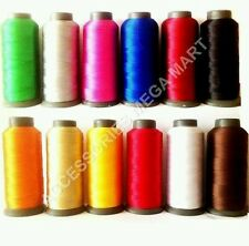 12 Viscose rayon machine silk / art thread most basic colors Janome brother 2500