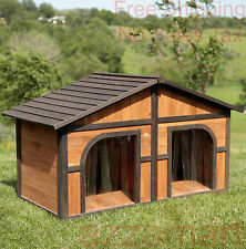Double Dog House Extra Large Wood Duplex Outdoor Pet Shelter Cage Kennel XL NEW