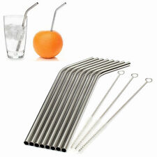 8 Pcs Stainless Steel Metal Drinking Straw Reusable Straws + 3 Cleaner Brush Kit