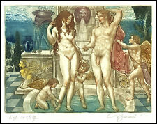 David Bekker C4 Exlibris Adam and Eve Erotic Erotik Nude Nudo Angel Amor 106