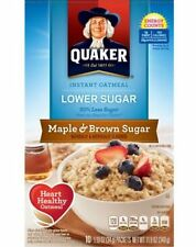 Quaker Maple Brown Sugar Tasty Heart Healthy Quick Instant Cook Oatmeal 10 Ct