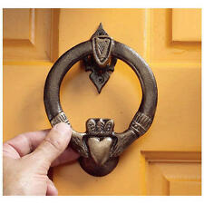 19th Century English Antique Replica Foundry Iron Celtic Claddagh Door Knocker