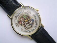 New Harry Potter Hogwarts  Gold  Faced Quartz Watch Black Leather Strap