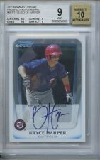 BRYCE HARPER RC ON CARD AUTO BGS MINT 9 10 AUTO 1ST 2011 BOWMAN CHROME