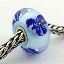 Authentic Trollbeads Murano Light Blue Flower Bead Charm 61156, New