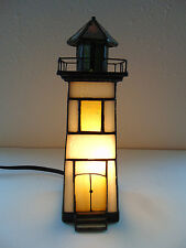 Stained Glass Green White Yellow Lighthouse Table Lamp Night Light