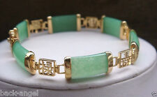 Pretty Natural Green Jade Gemstone Gold Plated Fortune Lucky Link Bracelet